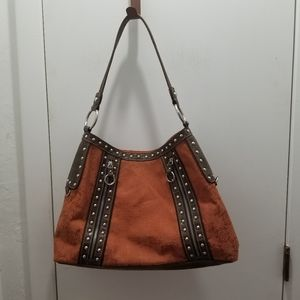 Mercer & Madison brown design studs handbag